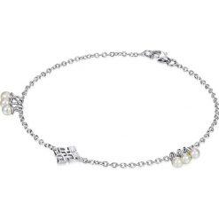 Bransoletki damskie na nogę: Srebrna bransoletka z zawieszką i perłami
