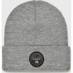 Napapijri - Czapka. Szare czapki zimowe męskie marki Napapijri, z dzianiny. W wyprzedaży za 149,90 zł.