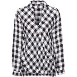 Bluzki damskie: Bluzka kopertowa bonprix czarno-biały w kratę