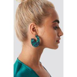 Kolczyki damskie: NA-KD Accessories Okrągłe kolczyki Green Resin - Green