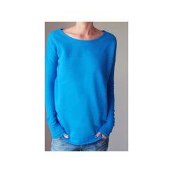Wąski gruby rękaw niebieski bluza oversize. Niebieskie długie bluzy damskie One mug a day, z bawełny. Za 189,00 zł.