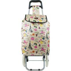 """Shopper bag damskie: Torba """"Oural"""" w kolorze białym ze wzorem na zakupy – 35 x 92 x 28 cm"""