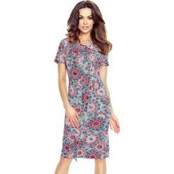 Sukienki balowe: ESTERA – elegancka sukienka z falującą plisą słoneczniki