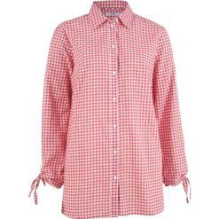 Bluzki damskie: Bluzka bawełniana z ozdobnym wiązaniem, długi rękaw bonprix dymny malinowy - biel wełny w paski