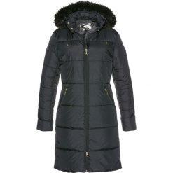 Płaszcz pikowany z kapturem ze sztucznym futerkiem bonprix czarny. Szare płaszcze damskie z futerkiem marki bonprix. Za 189,99 zł.