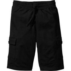 Bermudy dresowe Slim Fit bonprix czarny. Czarne bermudy męskie marki bonprix, w paski, z dresówki. Za 34,99 zł.