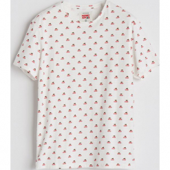 T-shirt ze świątecznym nadrukiem - Biały. Białe t-shirty męskie z nadrukiem marki Reserved, l. Za 39,99 zł.