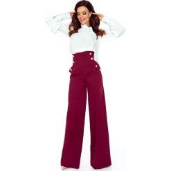Eleganckie spodnie z wysokim stanem bordo. Szare spodnie z wysokim stanem Bergamo. Za 249,99 zł.