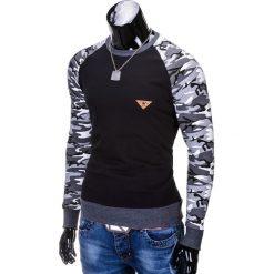 BLUZA MĘSKA BEZ KAPTURA B453 - CZARNA/MORO. Czarne bluzy męskie marki Ombre Clothing, m, z bawełny, z kapturem. Za 59,00 zł.