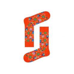 Skarpetki Happy Socks - Holiday XMAS (BAU01-4000). Pomarańczowe skarpetki męskie Happy Socks, w kolorowe wzory, z bawełny. Za 34,90 zł.