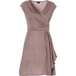 Sukienki: Sukienka w groszki bonprix matowy brąz – ecru