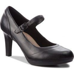 Półbuty CLARKS - Adriel Carla 261363764 Black Leather. Czarne półbuty damskie skórzane marki Clarks, na obcasie. W wyprzedaży za 229,00 zł.