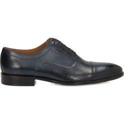 Granatowe półbuty wizytowe. Czarne buty wizytowe męskie marki Kazar, ze skóry, z otwartym noskiem. Za 479,00 zł.