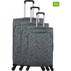 """Walizki (3 szt.) """"Lulu Cactus"""" w kolorze szarym. Czarne walizki marki Jack Wolfskin, w paski, z materiału, małe. W wyprzedaży za 673,95 zł."""