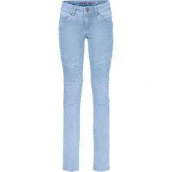 """Dżinsy SKINNY ze szwami dzielącymi bonprix jasnoniebieski """"bleached"""". Niebieskie jeansy damskie marki bonprix, z nadrukiem. Za 89,99 zł."""