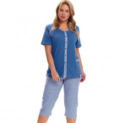 Piżama w kolorze niebiesko-białym - koszula, spodnie. Białe piżamy damskie Doctor Nap, l, w kratkę. W wyprzedaży za 79,95 zł.