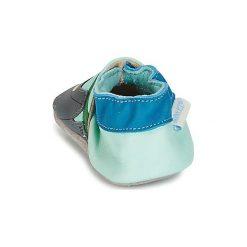 Kapcie niemowlęce Dziecko  Robeez  JUNGLE NAP. Niebieskie kapcie chłopięce marki Robeez. Za 90,30 zł.