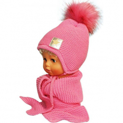 Czapka dziecięca z szalikiem CZ+S 172C. Różowe czapeczki niemowlęce Proman. Za 49,14 zł.