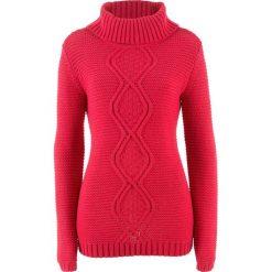 Swetry klasyczne damskie: Sweter z warkoczem bonprix czerwony