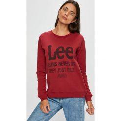 Lee - Bluza. Brązowe bluzy z nadrukiem damskie marki Lee, l, z bawełny, bez kaptura. Za 219,90 zł.