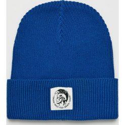 Diesel - Czapka. Niebieskie czapki zimowe męskie Diesel, na zimę, z bawełny. Za 229,90 zł.