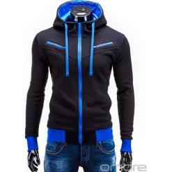 BLUZA MĘSKA ROZPINANA Z KAPTUREM AMIGO - CZARNO-NIEBIESKA. Czarne bluzy męskie rozpinane marki Ombre Clothing, m, z bawełny, z kapturem. Za 75,00 zł.