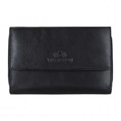 Skórzany portfel w kolorze czarnym - (S)15 x (W)10 cm. Czarne portfele damskie Wittchen, z materiału. W wyprzedaży za 149,95 zł.