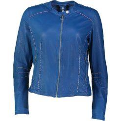 """Bomberki damskie: Skórzana kurtka """"Kelly"""" w kolorze niebieskim"""