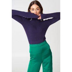 Golfy damskie: Trendyol Sweter w prążki z golfem - Purple