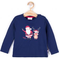 Koszulka. Niebieskie t-shirty chłopięce z długim rękawem Merry Christmas, z nadrukiem, z bawełny. Za 45,90 zł.