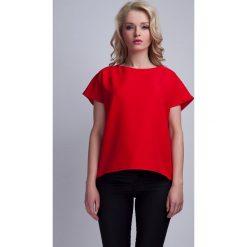 Bluzki damskie: Czerwona Ciekawa Bluzka z Kopertowym Założeniem na Plecach