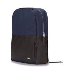 Granatowo-brązowy elegancki plecak miejski Solier ADVENTURE. Szare plecaki męskie marki Solier, ze skóry ekologicznej. Za 189,00 zł.