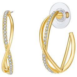 Biżuteria i zegarki: Pozłacane kolczyki-półkreole z kryształkami
