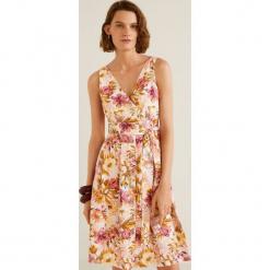 Mango - Sukienka Nature. Różowe sukienki mini Mango, na co dzień, m, z bawełny, casualowe, z krótkim rękawem, rozkloszowane. Za 199,90 zł.