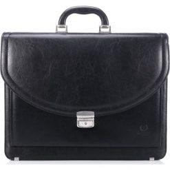Teczka męska Paolo Peruzzi na laptopa 453. Czarne aktówki męskie marki Kazar, w paski, ze skóry, z tłoczeniem. Za 169,00 zł.
