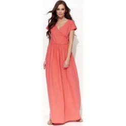 Sukienki: Kolarowa Casualowa Maxi Sukienka Kopertowa z Krótkim Rękawem
