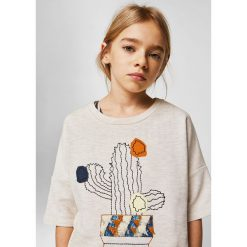 Mango Kids - Top dziecięcy Pincho 110-164 cm. Szare bluzki dziewczęce Mango Kids, z nadrukiem, z bawełny, z okrągłym kołnierzem, z krótkim rękawem. W wyprzedaży za 49,90 zł.