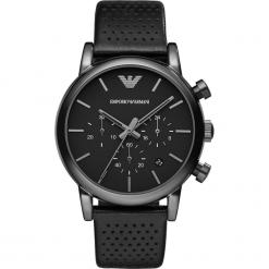 Zegarek EMPORIO ARMANI - Luigi AR1737 Black/Black. Szare zegarki męskie marki Emporio Armani, l, z nadrukiem, z bawełny, z okrągłym kołnierzem. Za 1149,00 zł.