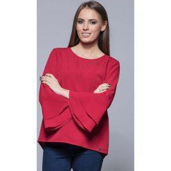 Bluzki damskie: Czerwona Elegancka Asymetryczna Bluzka z Hiszpańskim Rękawem