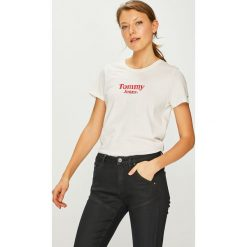 Tommy Jeans - Top. Szare topy damskie marki Tommy Jeans, l, z nadrukiem, z bawełny, z okrągłym kołnierzem. Za 159,90 zł.