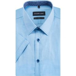 Koszula MICHELE slim KKNS000032. Niebieskie koszule męskie na spinki Giacomo Conti, m, z bawełny, z klasycznym kołnierzykiem, z krótkim rękawem. Za 199,00 zł.
