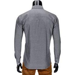 KOSZULA MĘSKA Z DŁUGIM RĘKAWEM K322 - SZARA. Brązowe koszule męskie na spinki marki Ombre Clothing, m, z aplikacjami, z kontrastowym kołnierzykiem, z długim rękawem. Za 59,00 zł.