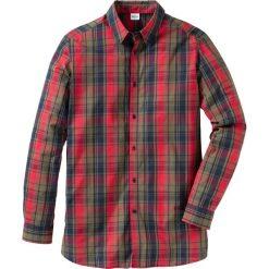 Koszula z długim rękawem ze specjalnym krojem brzucha Regular Fit bonprix ciemnooliwkowy w kratę. Białe koszule męskie na spinki marki bonprix, z klasycznym kołnierzykiem, z długim rękawem. Za 37,99 zł.