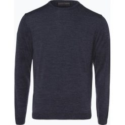 Finshley & Harding - Sweter męski z dodatkiem wełny merino, niebieski. Czarne swetry klasyczne męskie marki Finshley & Harding, w kratkę. Za 129,95 zł.