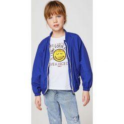 Mango Kids - Top dziecięcy Smileyd 110-164 cm. Szare bluzki dziewczęce bawełniane Mango Kids, s, z nadrukiem, z okrągłym kołnierzem. Za 59,90 zł.
