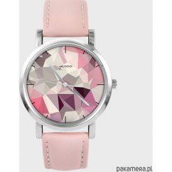 Zegarki damskie: Zegarek – Geometric – pudrowy róż, skórzany