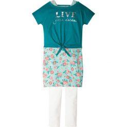 """Odzież dziecięca: Shirt """"boxy"""" + sukienka + legginsy (3 części) bonprix turkusowo-biel wełny"""