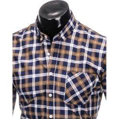 KOSZULA MĘSKA W KRATĘ Z DŁUGIM RĘKAWEM K397 - GRANATOWY/BRĄZOWY. Brązowe koszule męskie na spinki marki FORCLAZ, m, z materiału, z długim rękawem. Za 69,00 zł.