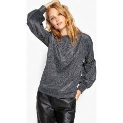 Błyszcząca bluza z rękawami z bufkami. Szare bluzy damskie marki La Redoute Collections, m, z bawełny, z kapturem. Za 170,06 zł.