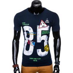 T-SHIRT MĘSKI Z NADRUKIEM S990 - GRANATOWY. Niebieskie t-shirty męskie z nadrukiem marki Ombre Clothing, m. Za 29,00 zł.
